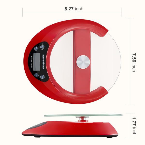 Bonsenkitchen Digital Kitchen Food Scales with Detachable Glass Tray - Bonsenkitchen
