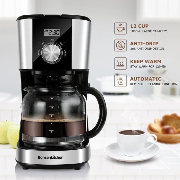 Bonsenkitchen Programmable 12 Cups Coffee Maker with glass carafe,Keep Warm Function CM8010