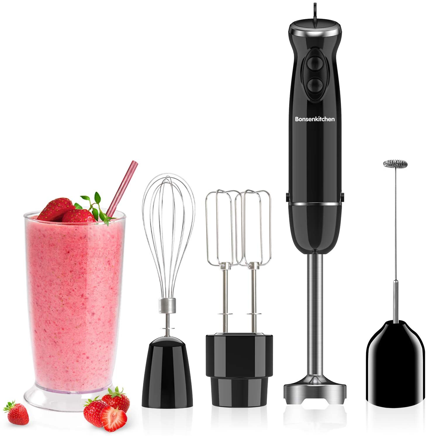 Bonsenkitchen HB8004 Turbo 12 Speed Immersion Hand Blender