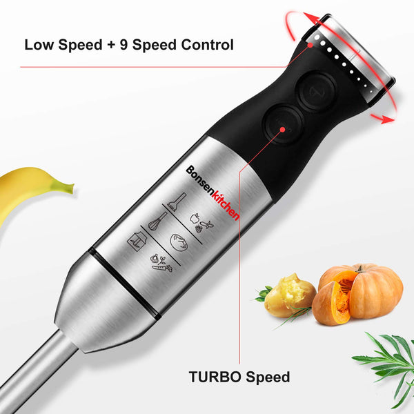 Bonsenkitchen HB8003  9-Speed 5 in 1 Stainless Steel Electric Handheld Blender