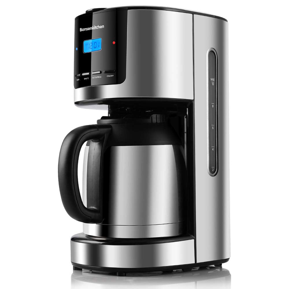 Bonsenkitchen CM8003 Programmable Stainless Steel Drip Coffee Maker With Thermal Carafe 52Oz Coffee Pot