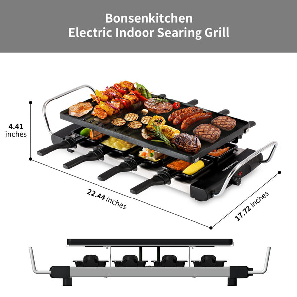 Bonsenkitchen GV8002 Smokeless Fast Heating BBQ Electric Grill