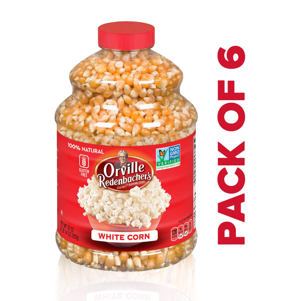Orville Redenbacher's Original Gourmet White Popcorn Kernels, 30 Ounce, Pack of 6