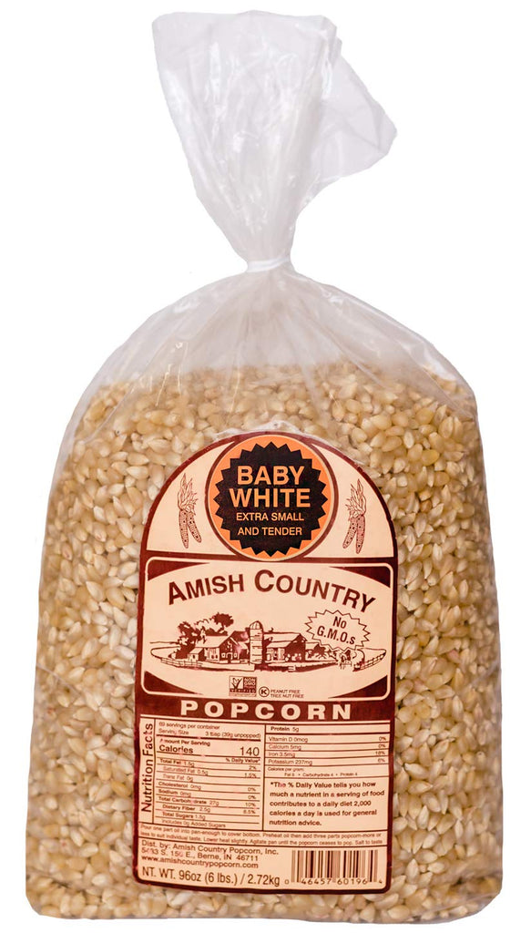 Amish Country Popcorn | 6 LB Baby White Small & Tender Popcorn | Old Fashioned, Non GMO, Gluten Free, Microwaveable and Kosher with Recipe Guide (Baby White, 6 Lb Bag)