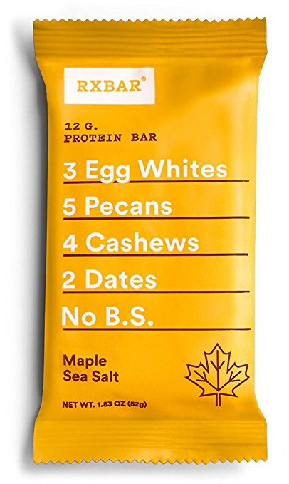 RXBAR Whole Food Protein Bar, Maple Sea Salt, 12 Count