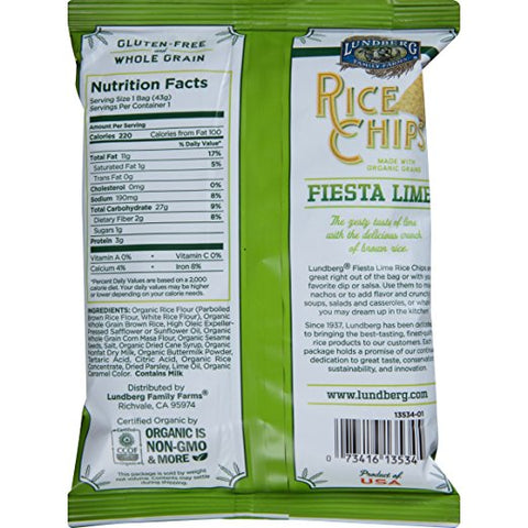Lundberg Family Farms Rice Chips, Fiesta Lime, 1.5 Ounce