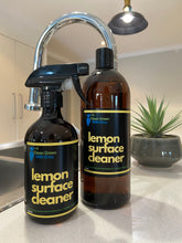 Load image into Gallery viewer, Our Ultimate natural Lemon grass scented multi surface cleaner.  Suitable for:  Floors, benchtops, furniture, tiles, timbers, laminates, plastics and all hard surfaces. This product has a high grade disinfectant which sanitises, fights germs, bacteria & viruses. Leaves a pleasant lemongrass scent.  500ml trigger spray PET bottle.  Biodegradable, septic safe, pH neutral, sanitiser, disinfectant, germicide, deodorant that contains no phosphates, chlorine, caustics or acids.