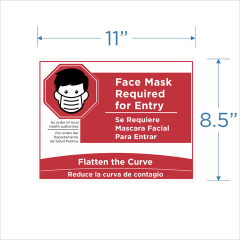 """Face Mask Required for Entry""  Window Cling"