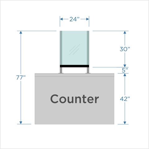 "Counter Shield with 5"" opening - 24"", 36"" or 48"""