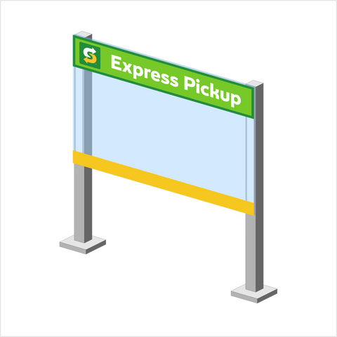 """Express Pickup"" 6"" Message decal for Protective shield"