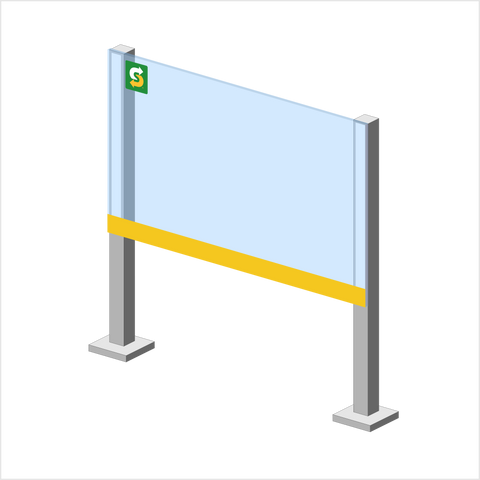"36"" Subway Counter Kit with Aluminum Posts and Adhesive"