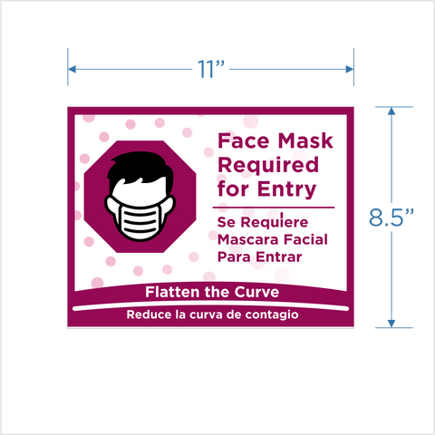 "Yogurtland ""Face Mask Required for Entry""  Window Cling"
