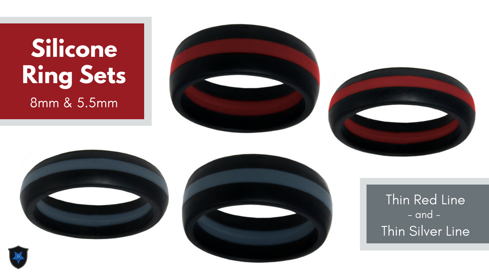Thin Red Line Silicone Ring Set
