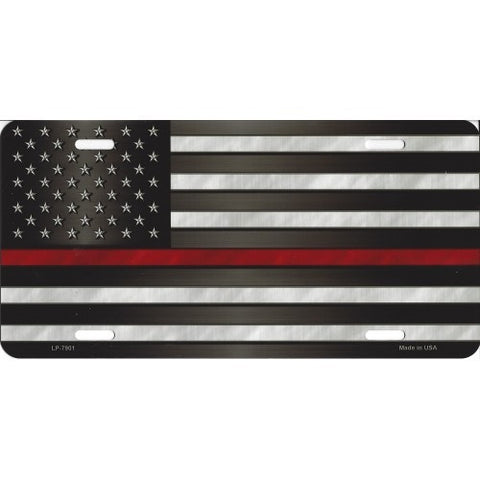 Thin Red Line on American Flag License Plate