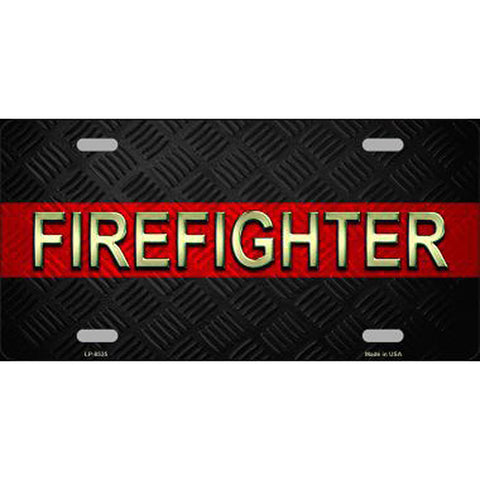 License Plate Thin Red Line Firefighter