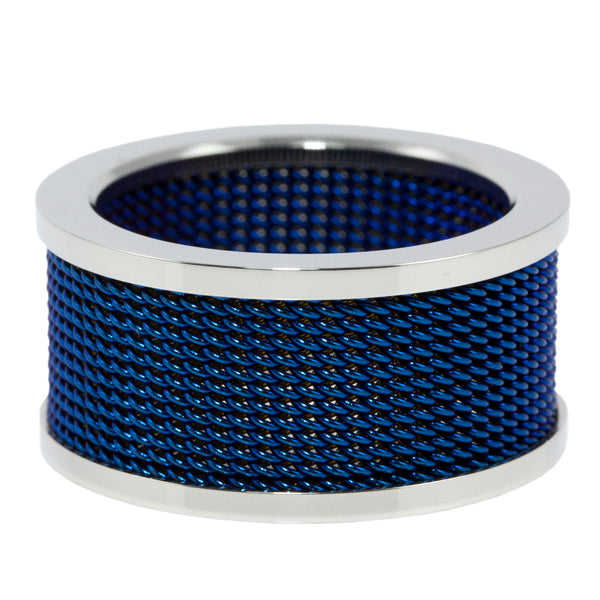 Blue Mesh Stainless Steel Ring