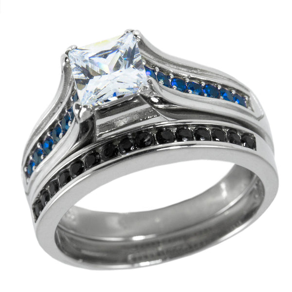 Thin Blue Line Wedding Ring Set