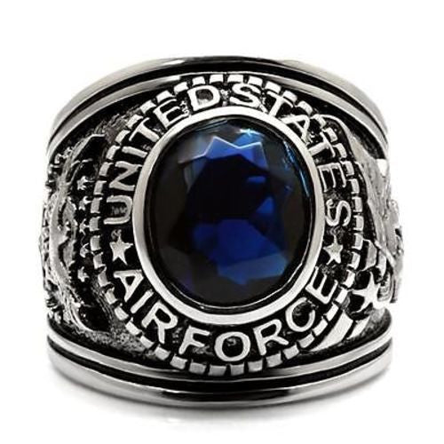 Air Force Mens US Military Stainless Steel Ring Front