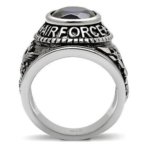 Air Force Mens US Military Stainless Steel Ring Standing