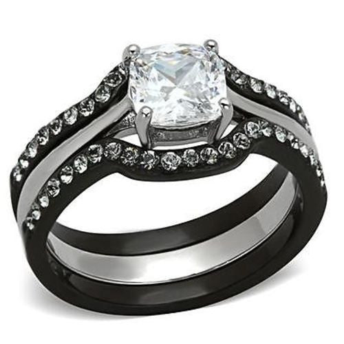Thin Silver Line Cushion Cut Stainless Steel 3 Ring Set