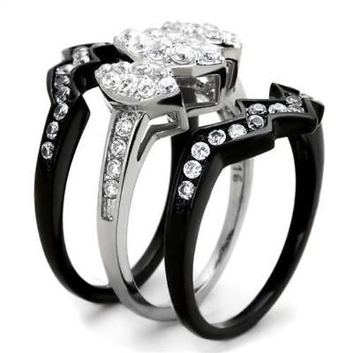 Thin Silver Line 3 Marquise Cluster Stainless Steel 3 Ring Set