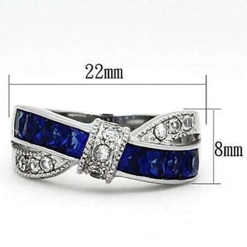 Thin Blue Line Women's 1.75 Ct Blue & Clear CZ Stainless Steel Twist Ring