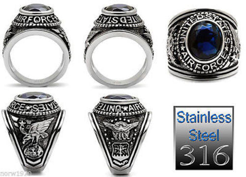 Air Force Mens US Military Stainless Steel Ring Multi-View