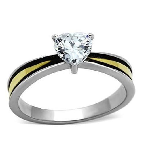 Thin Gold Line Stainless Steel Black and Gold Heart CZ Ring