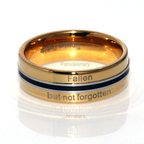 Fallen but not Forgotten Gold Black Tungsten Carbide Ring 6MM