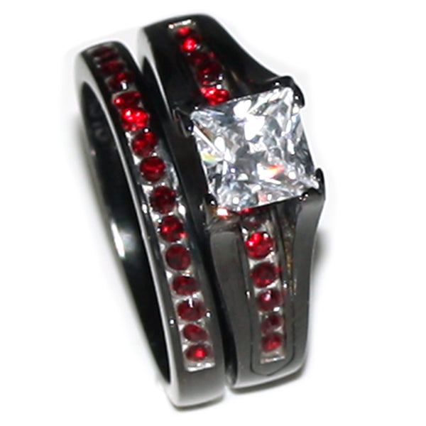 Thin Red Line Stainless Steel Princess Cut CZ Wedding Ring Two Ring Set