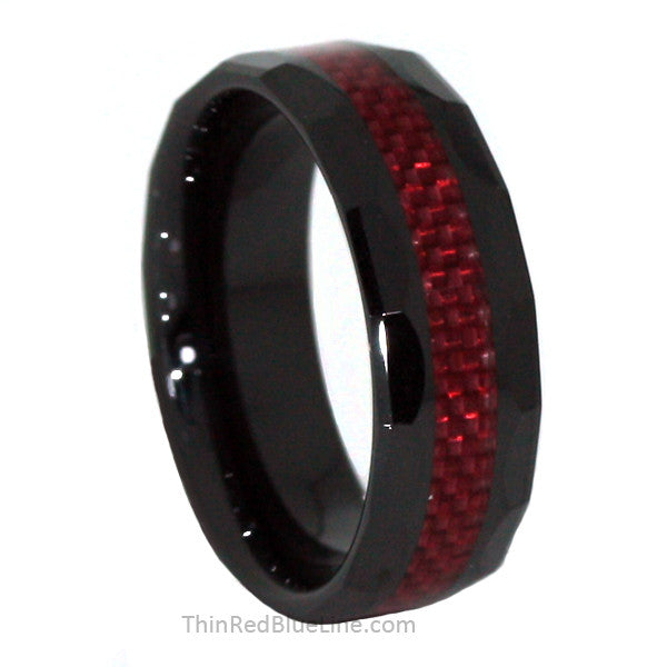 Thin Red Line Ceramic Scalloped Ring Red Fiber Inlay 8MM