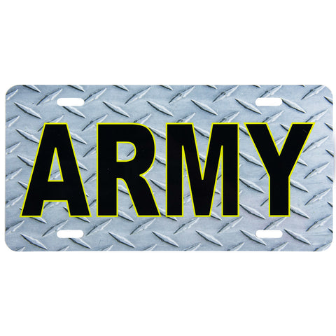 License Plate Black Army Diamond Plate Texture