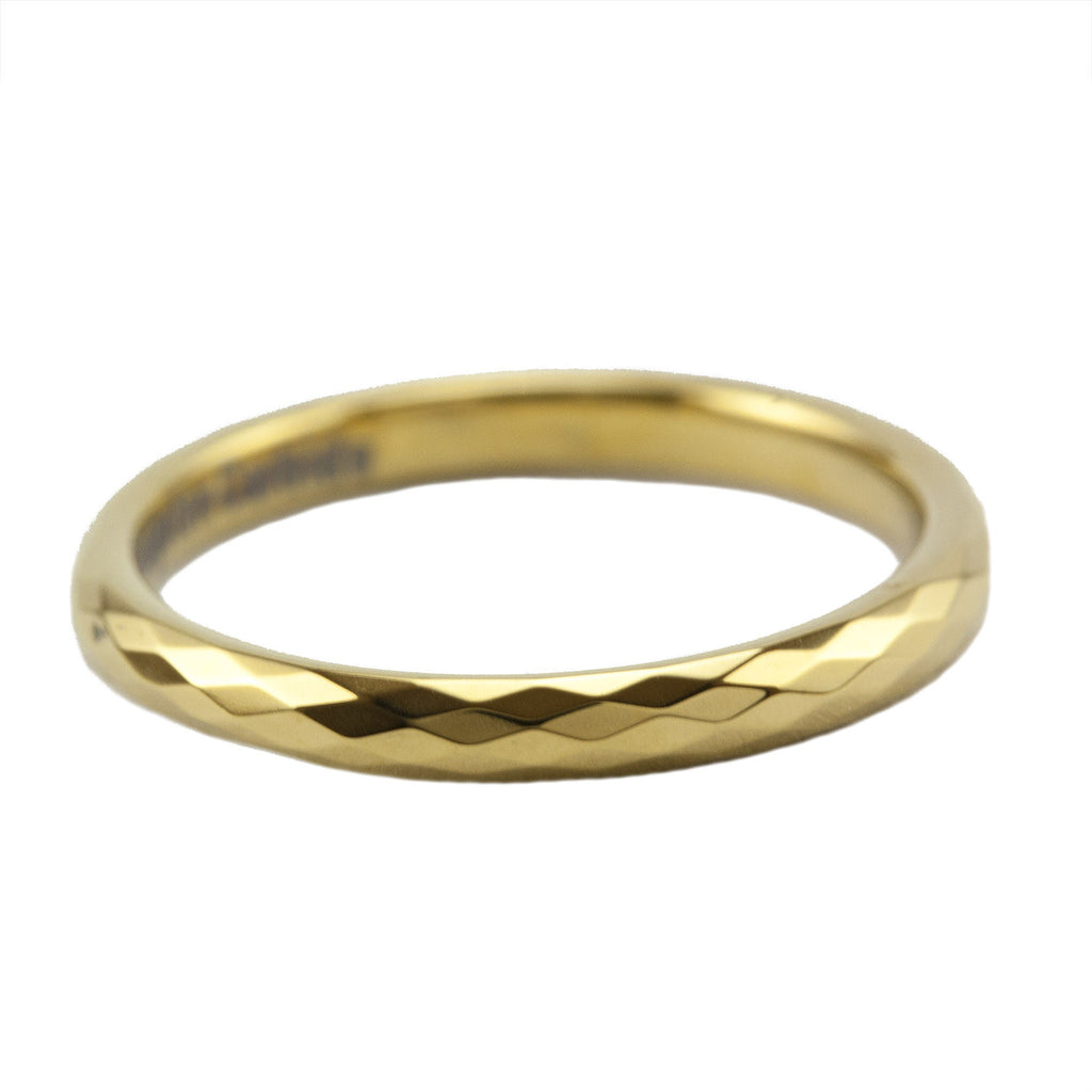 Gold faceted stackable tungsten ring
