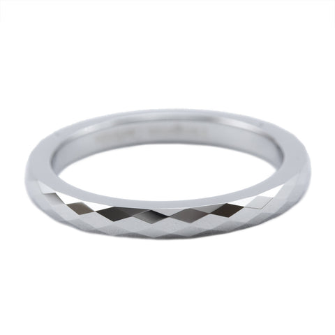 Silver faceted tungsten stackable ring