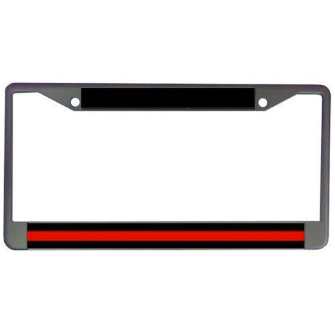 Metal License Plate Frame Thin Red Line