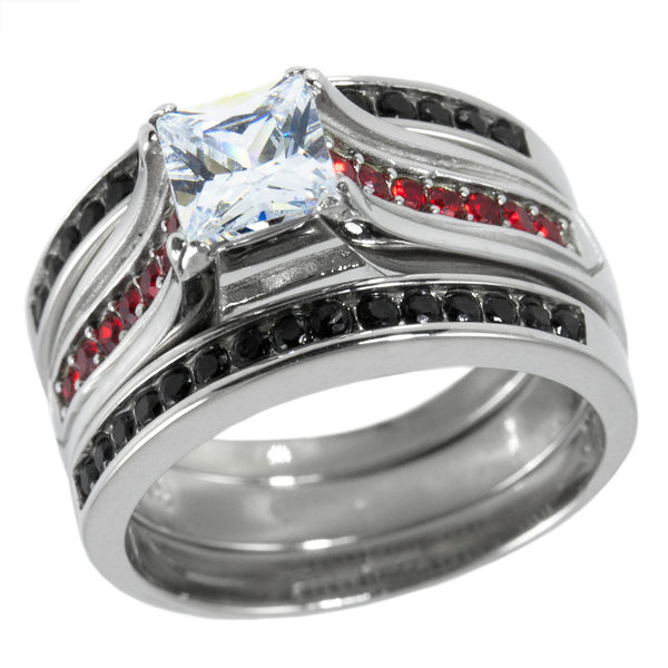 Thin Red Line Engagement CZ Ring Set Stainless Steel Princess Cut