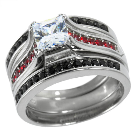 engagementfirefighter twist fashion line fire honorvalorshop thin engagement best steel pinterest stainless red images on rings ring ct cz clear fighters firefighter collection