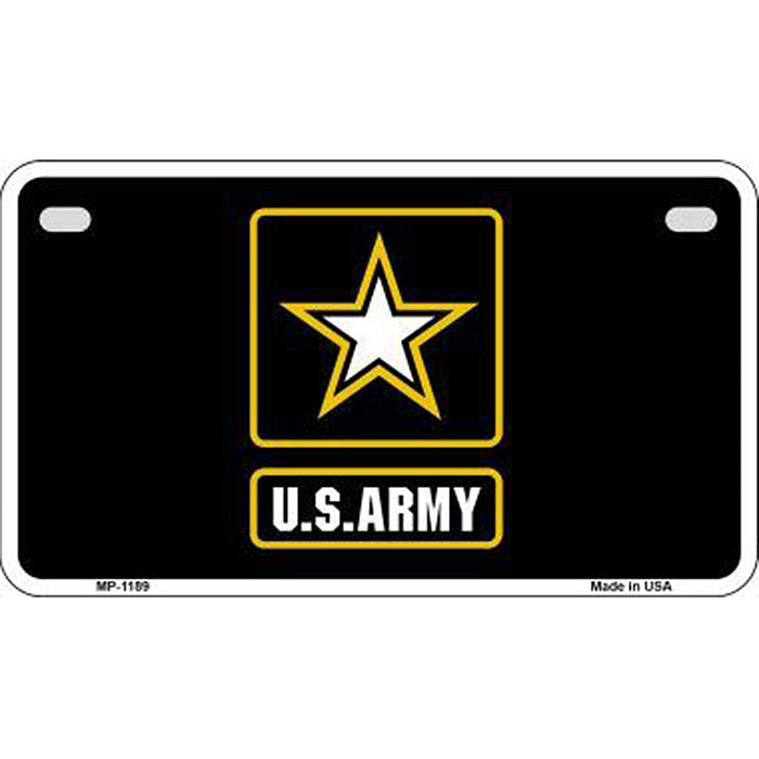 US Army Black Motorcycle Metal License Plate