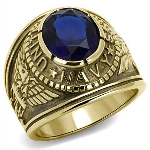Navy Mens United States Military Ring Dark Blue Stone Gold Stainless Steel