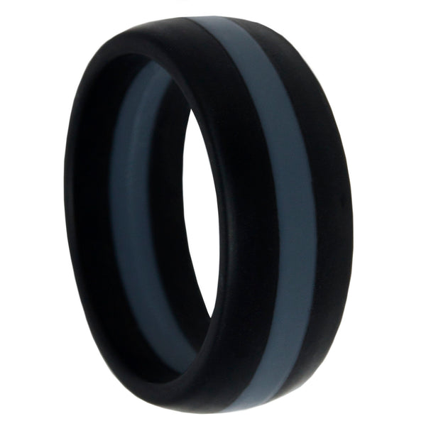Thin Silver Line Silicone Band Ring 8mm