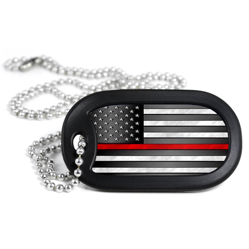 Thin Red Line American Flag Metal Dog Tag Necklace