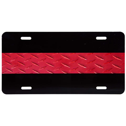 License Plate Textured Thin Red Line on Black