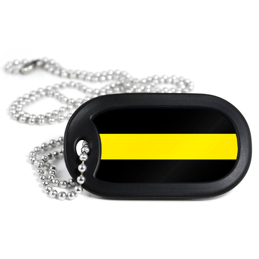 Thin Gold Line Metal Dog Tag Necklace