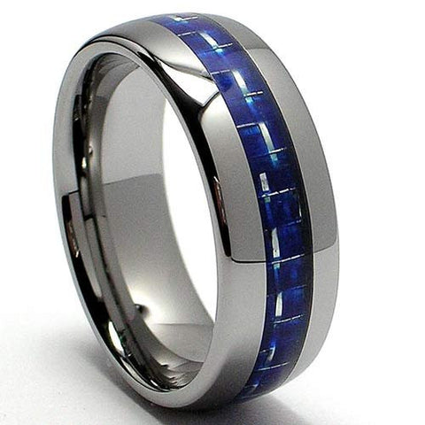 Thin Blue Line Carbon Fiber Ring in Natural Tungsten