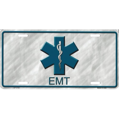 License Plate Blue Gray EMT