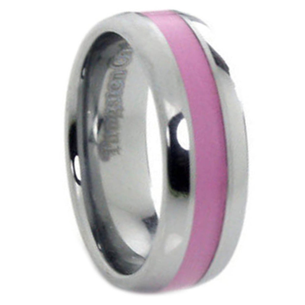 8mm Tungsten Carbide Ring Pink Inlay Breast Cancer Awareness