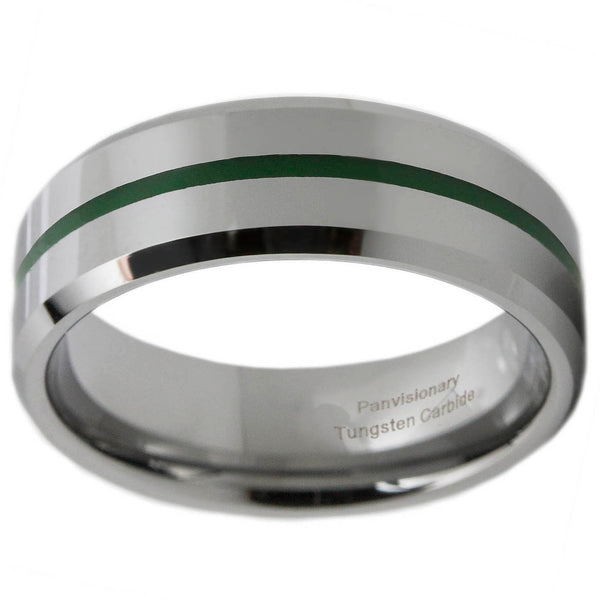 Thin Green Line 8mm Green Epoxy Tungsten Carbide Ring