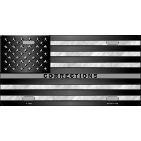 Thin Silver Line Corrections US Flag Metal License Plate