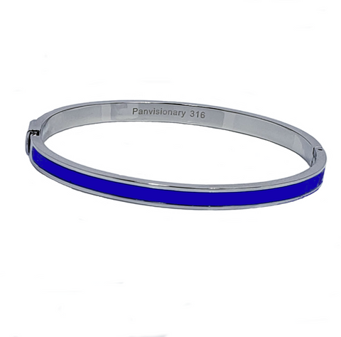 Thin Blue Line Stainless Steel Bangle with Blue Epoxy Stripe
