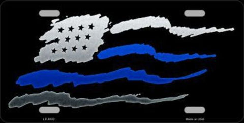Thin Blue Line American Flag Double Line License Plate
